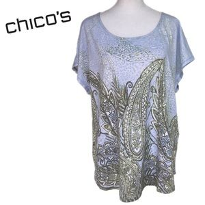 Chico's Pastel Paisley Top size 3 or XL